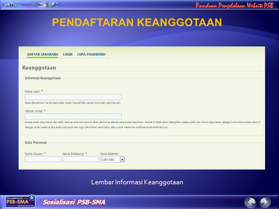 Lembar Informasi Keanggotaan PENDAFTARAN KEANGGOTAAN