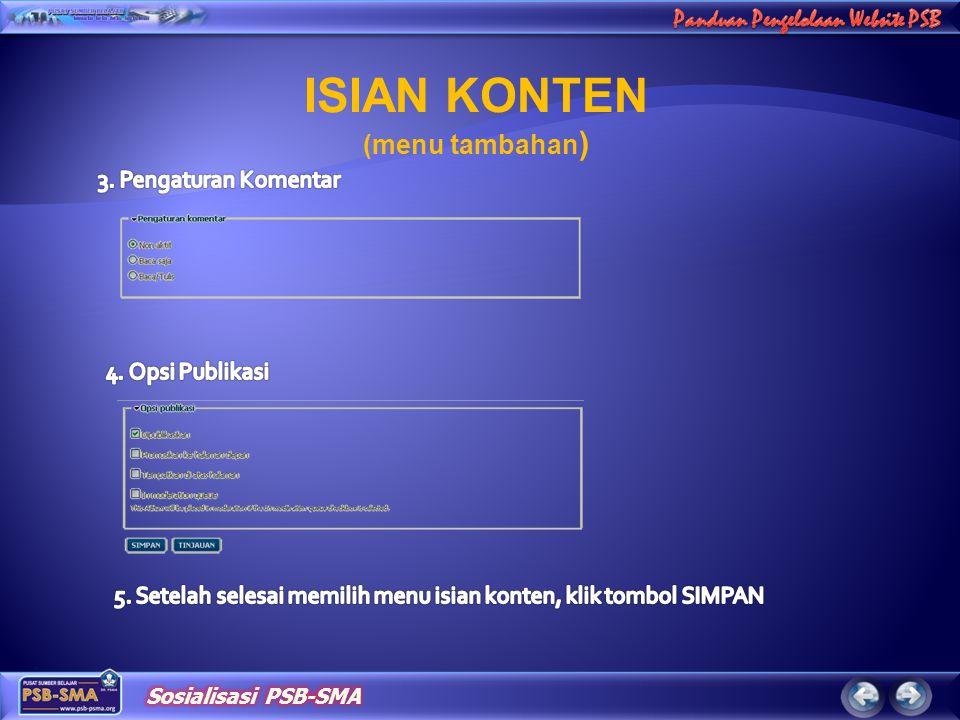ISIAN KONTEN (menu tambahan )
