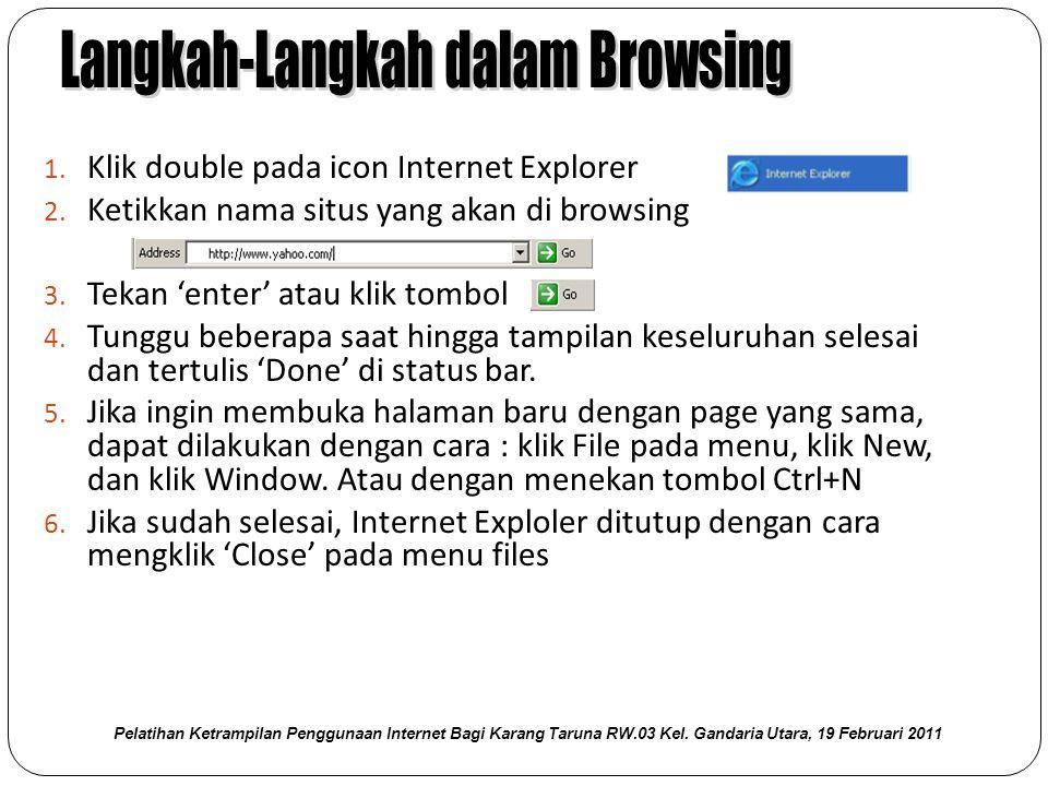 1. Klik double pada icon Internet Explorer 2. Ketikkan nama situs yang akan di browsing 3.