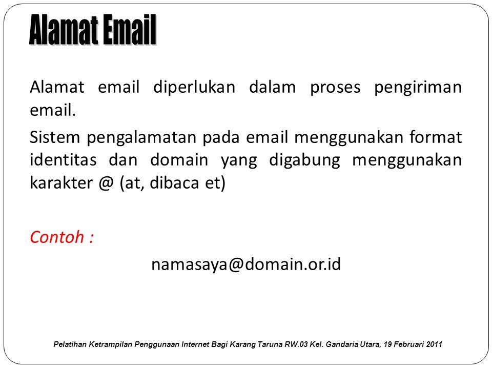 Alamat email diperlukan dalam proses pengiriman email.