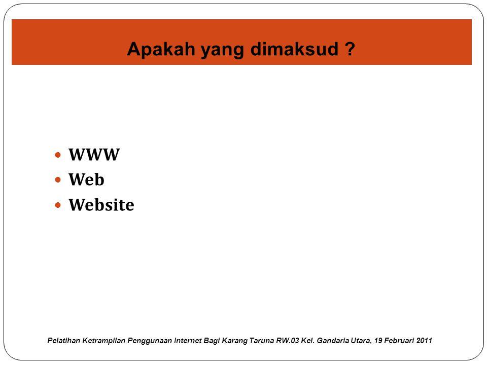 Sering disingkat sebagai WWW atau web saja, yakni sebuah sistem dimana informasi dalam bentuk teks, gambar, suara, dan lain-lain dipresentasikan dalam bentuk hypertext dan dapat diakses oleh perangkat lunak yang disebut browser.