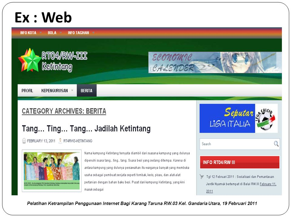 Website  Merupakan kumpulan halaman web yang berhubungan dengan file-file yang saling terkait di setiap website Pelatihan Ketrampilan Penggunaan Internet Bagi Karang Taruna RW.03 Kel.