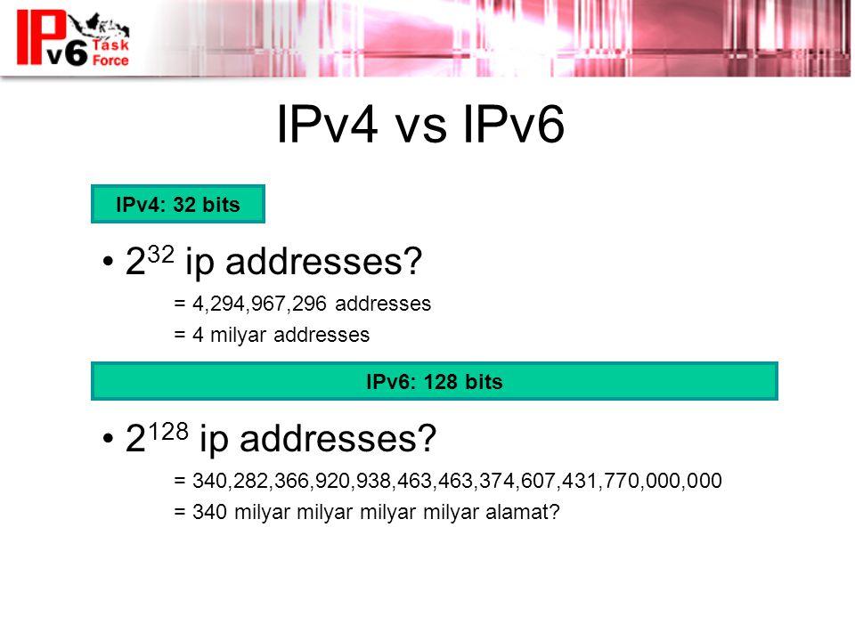 IPv4 vs IPv6 IPv4: 32 bits • 2 32 ip addresses.