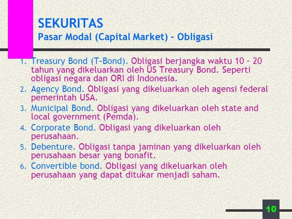 10 SEKURITAS Pasar Modal (Capital Market) - Obligasi 1. Treasury Bond (T-Bond). Obligasi berjangka waktu 10 – 20 tahun yang dikeluarkan oleh US Treasu