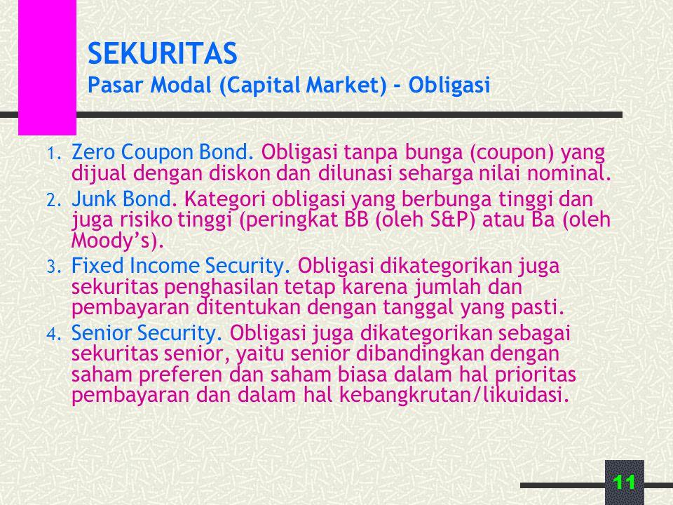 11 SEKURITAS Pasar Modal (Capital Market) - Obligasi 1. Zero Coupon Bond. Obligasi tanpa bunga (coupon) yang dijual dengan diskon dan dilunasi seharga