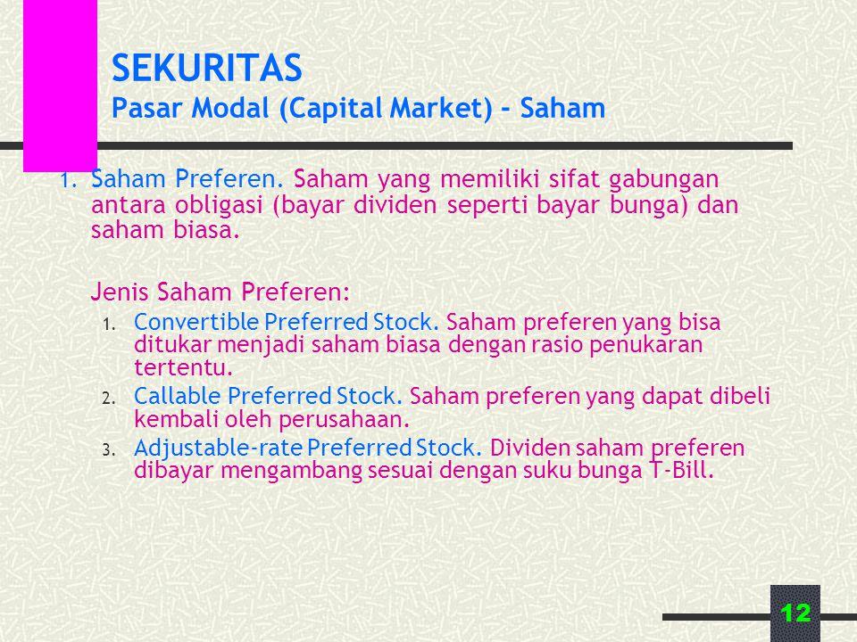 12 SEKURITAS Pasar Modal (Capital Market) - Saham 1. Saham Preferen. Saham yang memiliki sifat gabungan antara obligasi (bayar dividen seperti bayar b