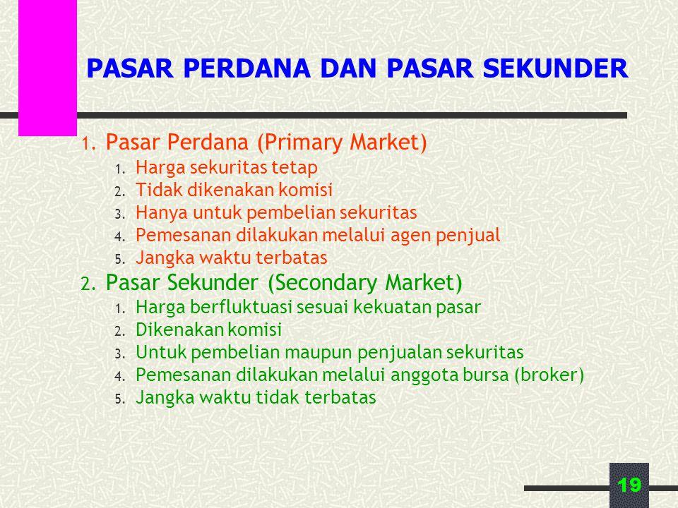 19 PASAR PERDANA DAN PASAR SEKUNDER 1.Pasar Perdana (Primary Market) 1.
