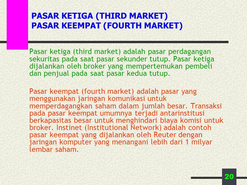 20 PASAR KETIGA (THIRD MARKET) PASAR KEEMPAT (FOURTH MARKET) Pasar ketiga (third market) adalah pasar perdagangan sekuritas pada saat pasar sekunder tutup.