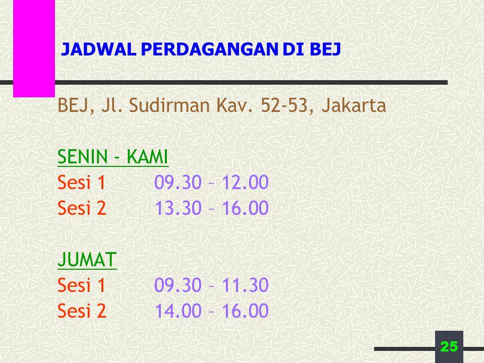 25 JADWAL PERDAGANGAN DI BEJ BEJ, Jl. Sudirman Kav. 52-53, Jakarta SENIN - KAMI Sesi 109.30 – 12.00 Sesi 213.30 – 16.00 JUMAT Sesi 109.30 – 11.30 Sesi