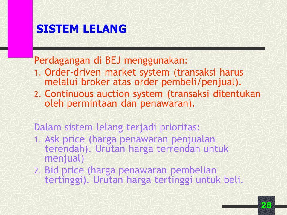 28 SISTEM LELANG Perdagangan di BEJ menggunakan: 1. Order-driven market system (transaksi harus melalui broker atas order pembeli/penjual). 2. Continu