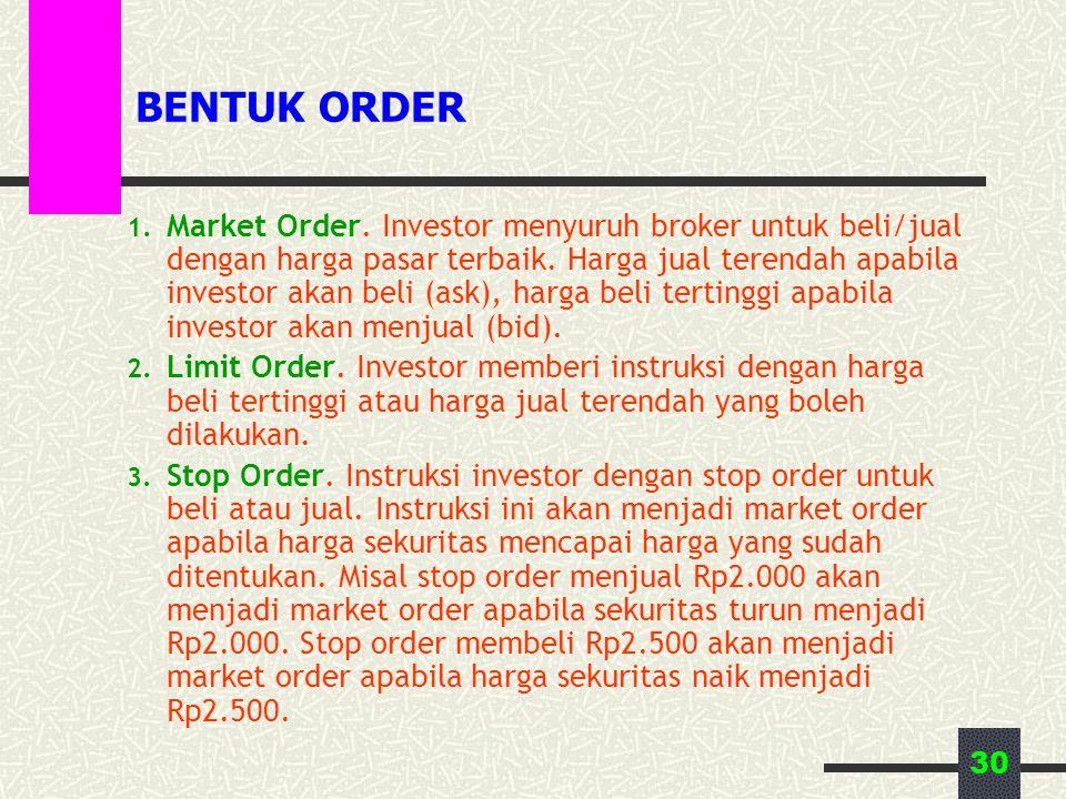 30 BENTUK ORDER 1. Market Order. Investor menyuruh broker untuk beli/jual dengan harga pasar terbaik. Harga jual terendah apabila investor akan beli (