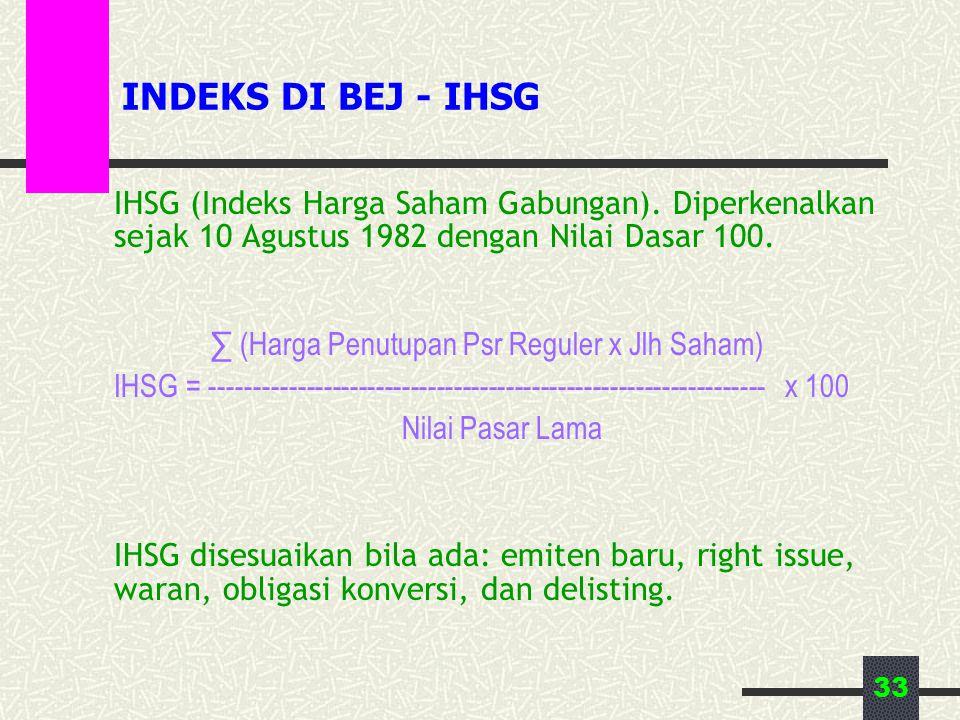 33 INDEKS DI BEJ - IHSG IHSG (Indeks Harga Saham Gabungan). Diperkenalkan sejak 10 Agustus 1982 dengan Nilai Dasar 100. ∑ (Harga Penutupan Psr Reguler