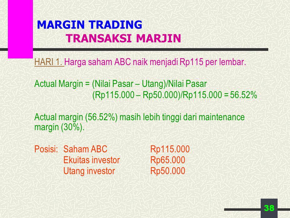 38 MARGIN TRADING TRANSAKSI MARJIN HARI 1. Harga saham ABC naik menjadi Rp115 per lembar. Actual Margin = (Nilai Pasar – Utang)/Nilai Pasar (Rp115.000