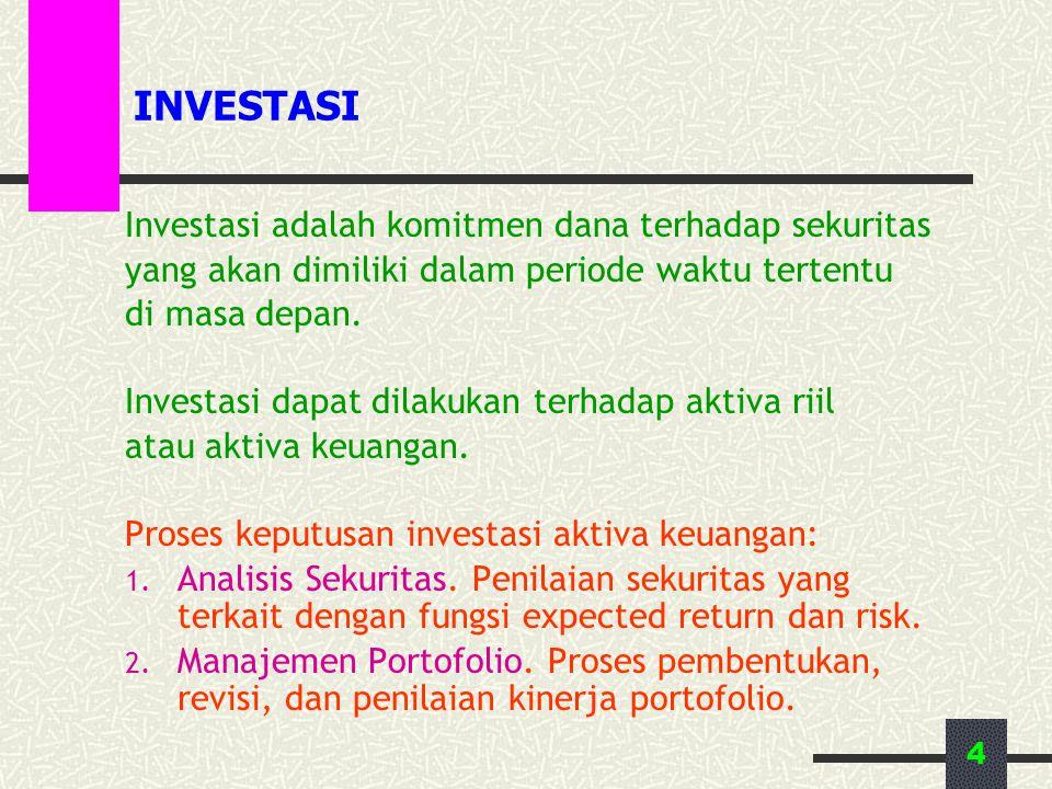 4 INVESTASI Investasi adalah komitmen dana terhadap sekuritas yang akan dimiliki dalam periode waktu tertentu di masa depan. Investasi dapat dilakukan