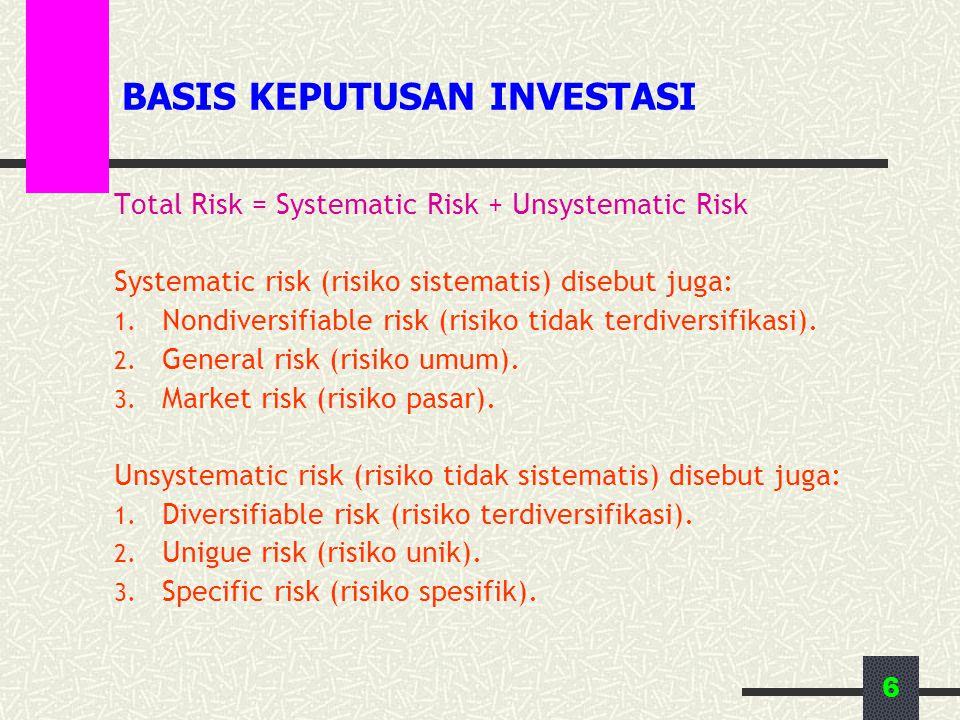 6 BASIS KEPUTUSAN INVESTASI Total Risk = Systematic Risk + Unsystematic Risk Systematic risk (risiko sistematis) disebut juga: 1. Nondiversifiable ris