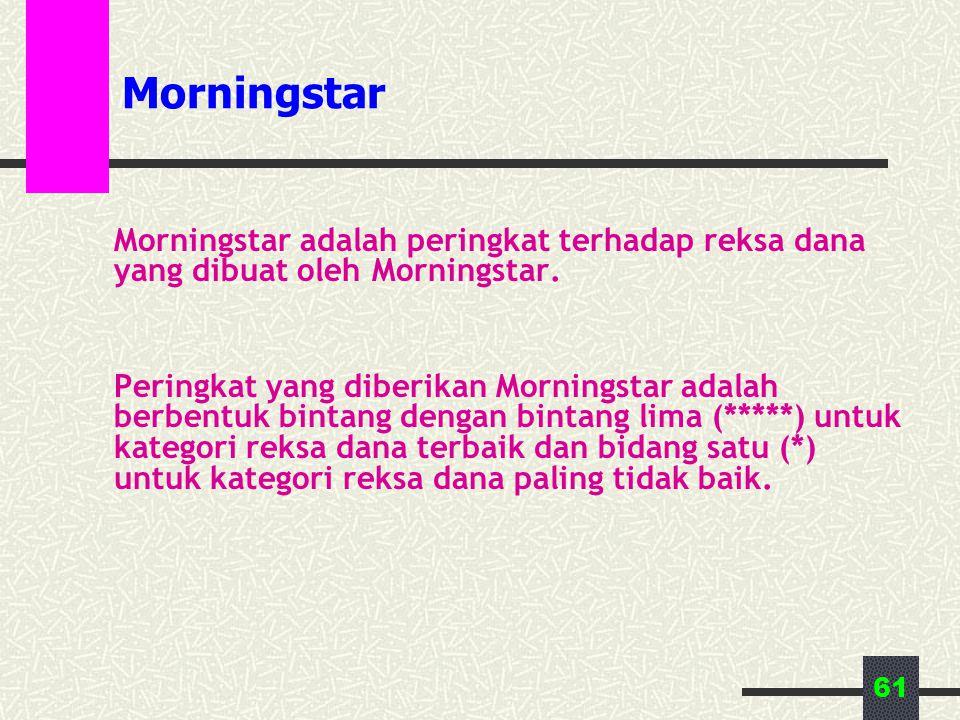 61 Morningstar Morningstar adalah peringkat terhadap reksa dana yang dibuat oleh Morningstar. Peringkat yang diberikan Morningstar adalah berbentuk bi