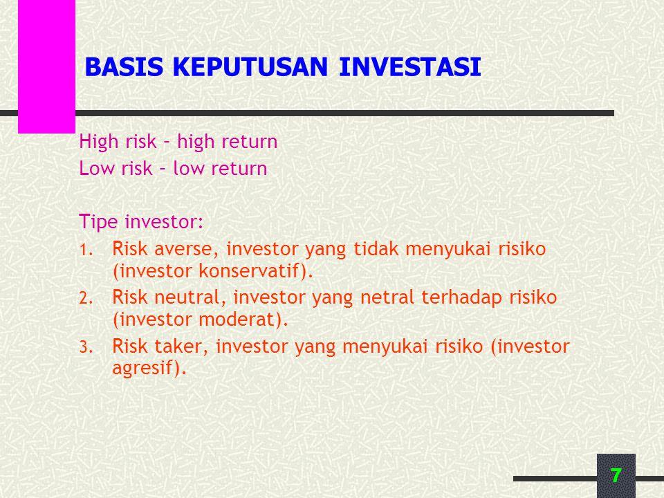 7 BASIS KEPUTUSAN INVESTASI High risk – high return Low risk – low return Tipe investor: 1. Risk averse, investor yang tidak menyukai risiko (investor