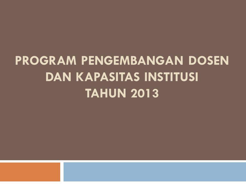 PROGRAM PENGEMBANGAN DOSEN DAN KAPASITAS INSTITUSI TAHUN 2013