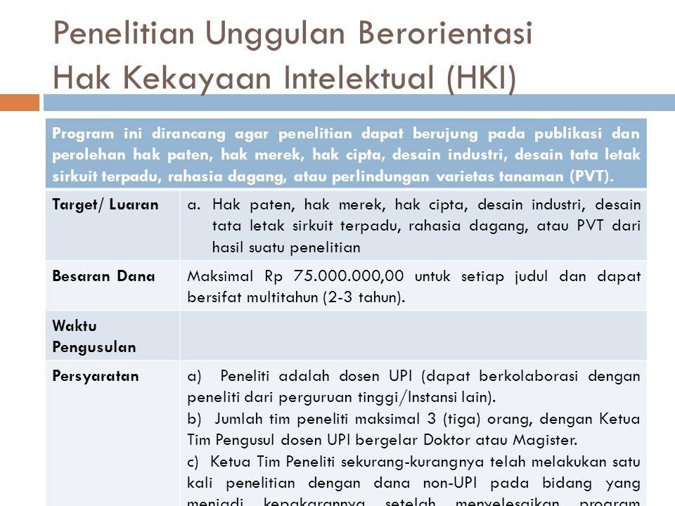 Penelitian Unggulan Berorientasi Hak Kekayaan Intelektual (HKI) Program ini dirancang agar penelitian dapat berujung pada publikasi dan perolehan hak