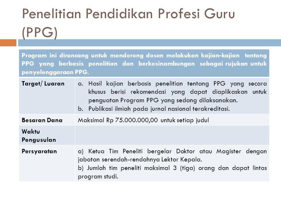 Penelitian Pendidikan Profesi Guru (PPG) Program ini dirancang untuk mendorong dosen melakukan kajian-kajian tentang PPG yang berbasis penelitian dan