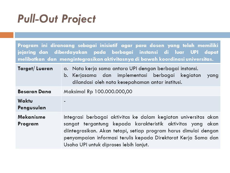 Pull-Out Project Program ini dirancang sebagai inisiatif agar para dosen yang telah memiliki jejaring dan diberdayakan pada berbagai instansi di luar