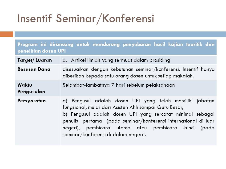 Insentif Seminar/Konferensi Program ini dirancang untuk mendorong penyebaran hasil kajian teoritik dan penelitian dosen UPI Target/ Luarana.Artikel il