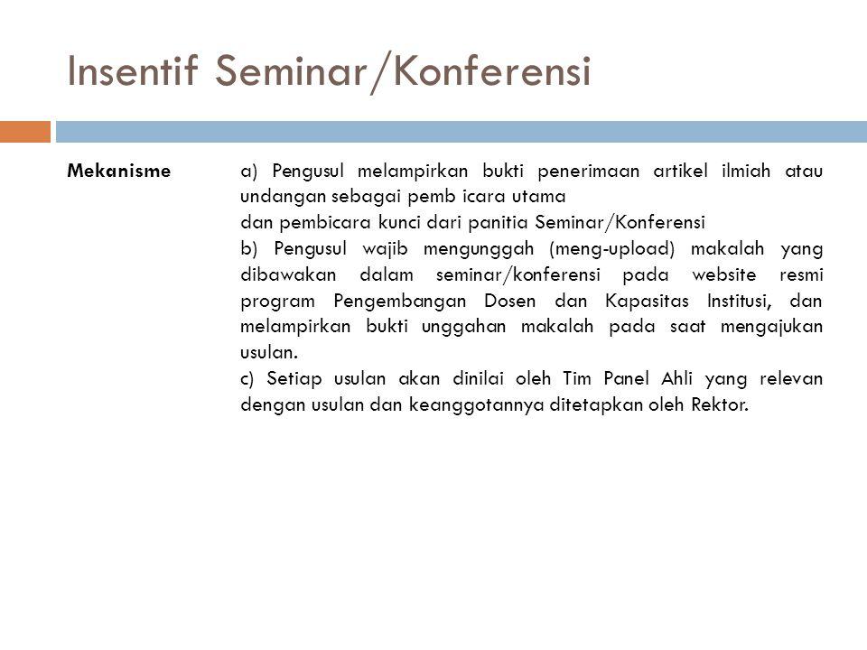 Insentif Seminar/Konferensi Mekanismea) Pengusul melampirkan bukti penerimaan artikel ilmiah atau undangan sebagai pemb icara utama dan pembicara kunc