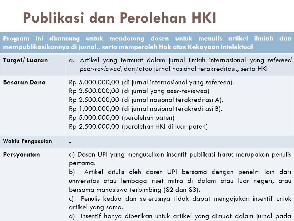 Publikasi dan Perolehan HKI Program ini dirancang untuk mendorong dosen untuk menulis artikel ilmiah dan mempublikasikannya di jurnal., serta memperol
