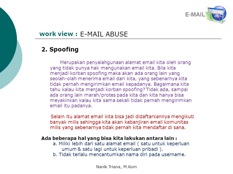 work view : E-MAIL ABUSE 2.