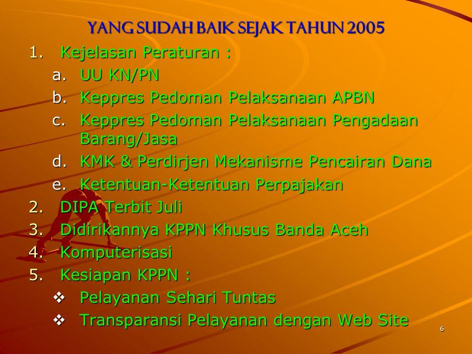 6 Yang sudah baik sejak tahun 2005 1.Kejelasan Peraturan : a.UU KN/PN b.Keppres Pedoman Pelaksanaan APBN c.Keppres Pedoman Pelaksanaan Pengadaan Barang/Jasa d.KMK & Perdirjen Mekanisme Pencairan Dana e.Ketentuan-Ketentuan Perpajakan 2.DIPA Terbit Juli 3.Didirikannya KPPN Khusus Banda Aceh 4.Komputerisasi 5.Kesiapan KPPN :  Pelayanan Sehari Tuntas  Transparansi Pelayanan dengan Web Site
