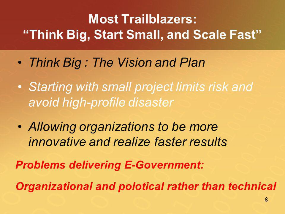 "8 Most Trailblazers: ""Think Big, Start Small, and Scale Fast"" •Think Big : The Vision and Plan •Starting with small project limits risk and avoid high"