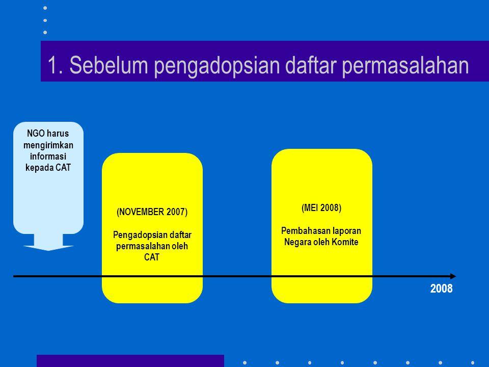 1. Sebelum pengadopsian daftar permasalahan (NOVEMBER 2007) Pengadopsian daftar permasalahan oleh CAT (MEI 2008) Pembahasan laporan Negara oleh Komite