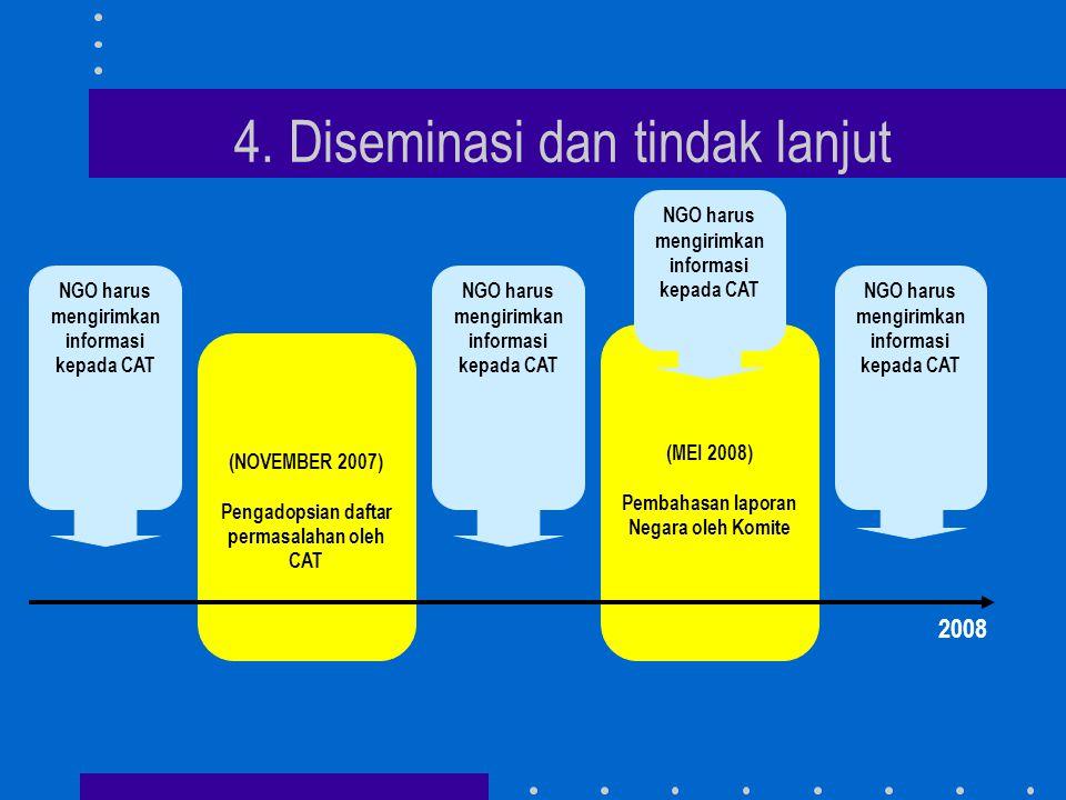 4. Diseminasi dan tindak lanjut (NOVEMBER 2007) Pengadopsian daftar permasalahan oleh CAT (MEI 2008) Pembahasan laporan Negara oleh Komite 2008 NGO ha