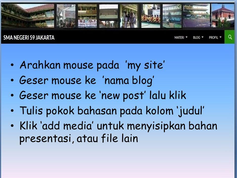 • Arahkan mouse pada 'my site' • Geser mouse ke 'nama blog' • Geser mouse ke 'new post' lalu klik • Tulis pokok bahasan pada kolom 'judul' • Klik 'add media' untuk menyisipkan bahan presentasi, atau file lain