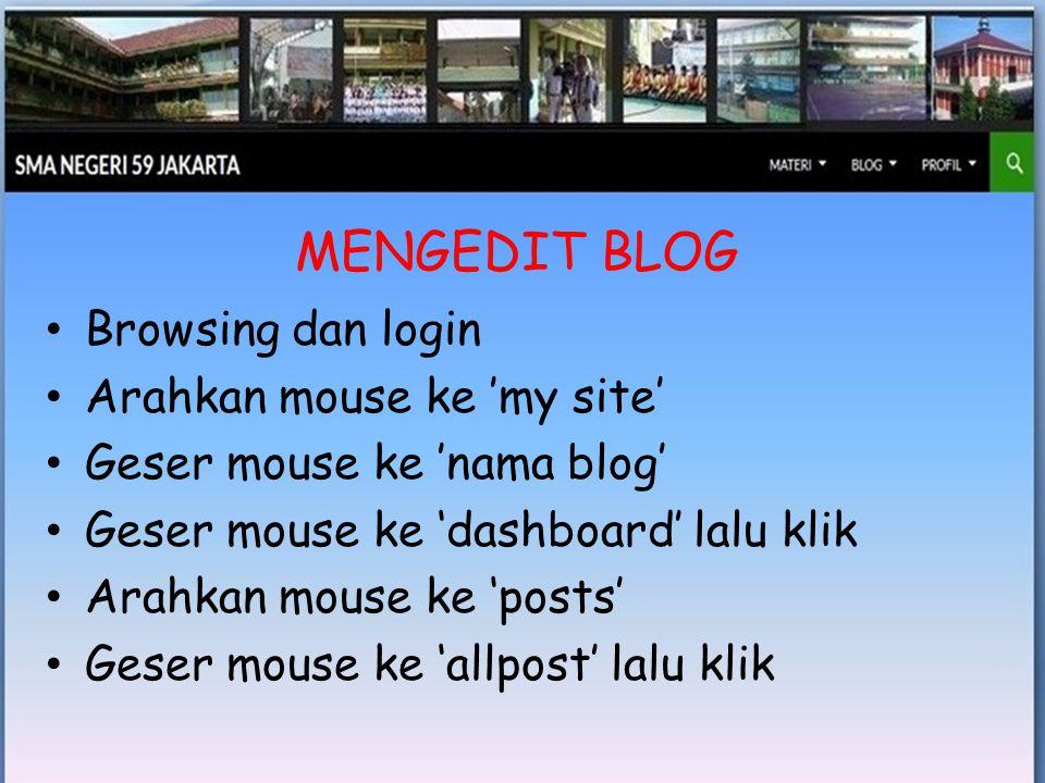 • Geser mouse ke 'edit' lalu klik • Lakukan perubahan seperlunya : judul, gambar, bahan presentasi, uraian, dsb • Arahkan mouse ke 'add media' dan klik kalau akan mengganti powerpoint atau file lain • Klik 'upload files'