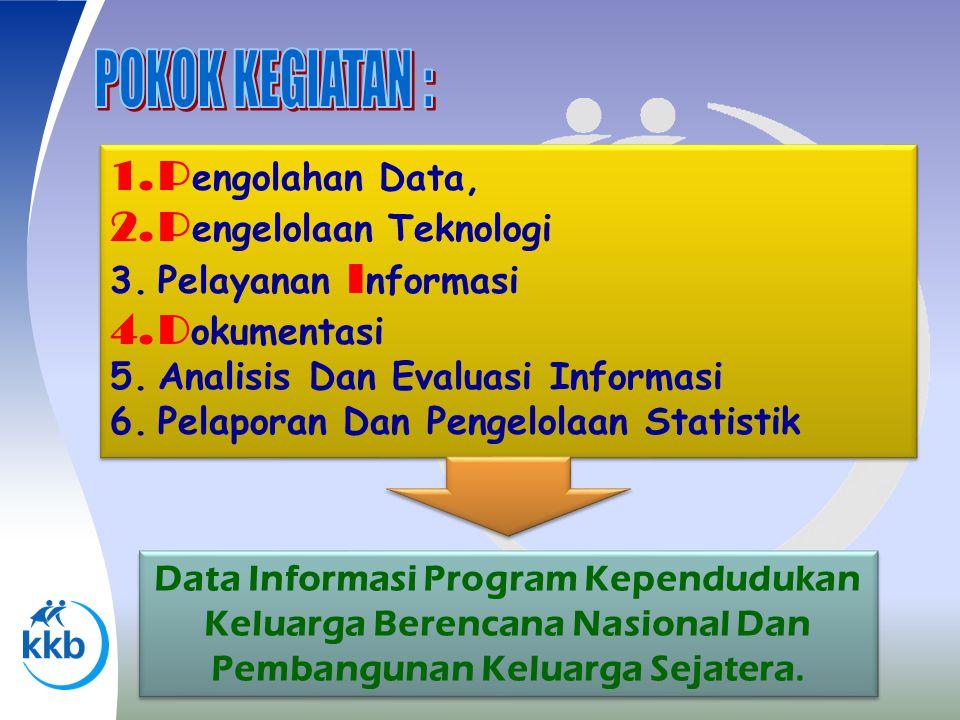 1.P engolahan Data, 2.P engelolaan Teknologi 3.Pelayanan I nformasi 4.D okumentasi 5.Analisis Dan Evaluasi Informasi 6.Pelaporan Dan Pengelolaan Stati