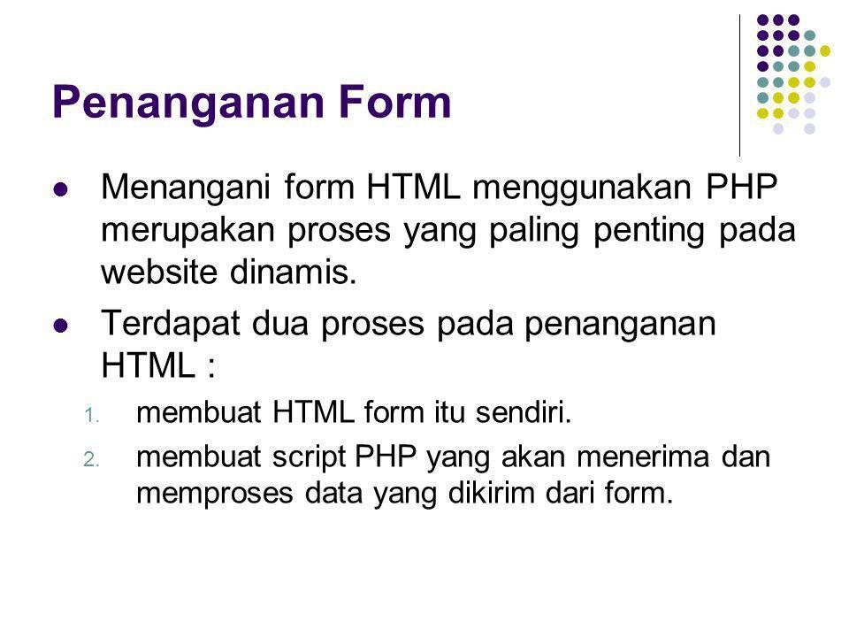 Penanganan Form  Menangani form HTML menggunakan PHP merupakan proses yang paling penting pada website dinamis.  Terdapat dua proses pada penanganan