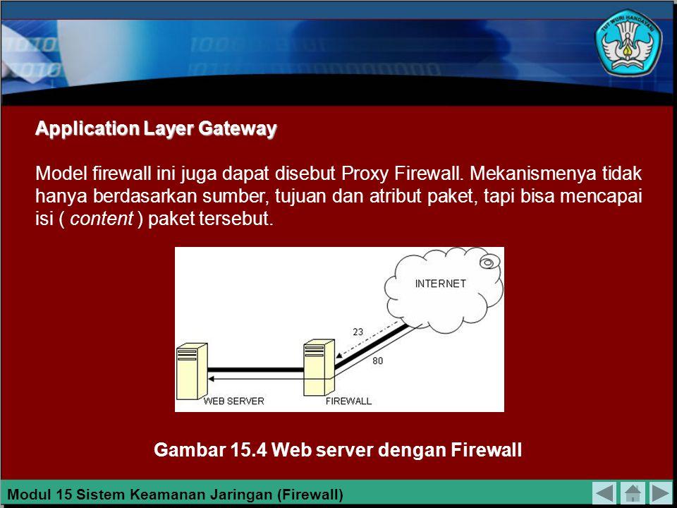 Packet Filtering Gateway Packet filtering gateway dapat diartikan sebagai firewall yang bertugas melakukan filterisasi terhadap paket-paket yang datan