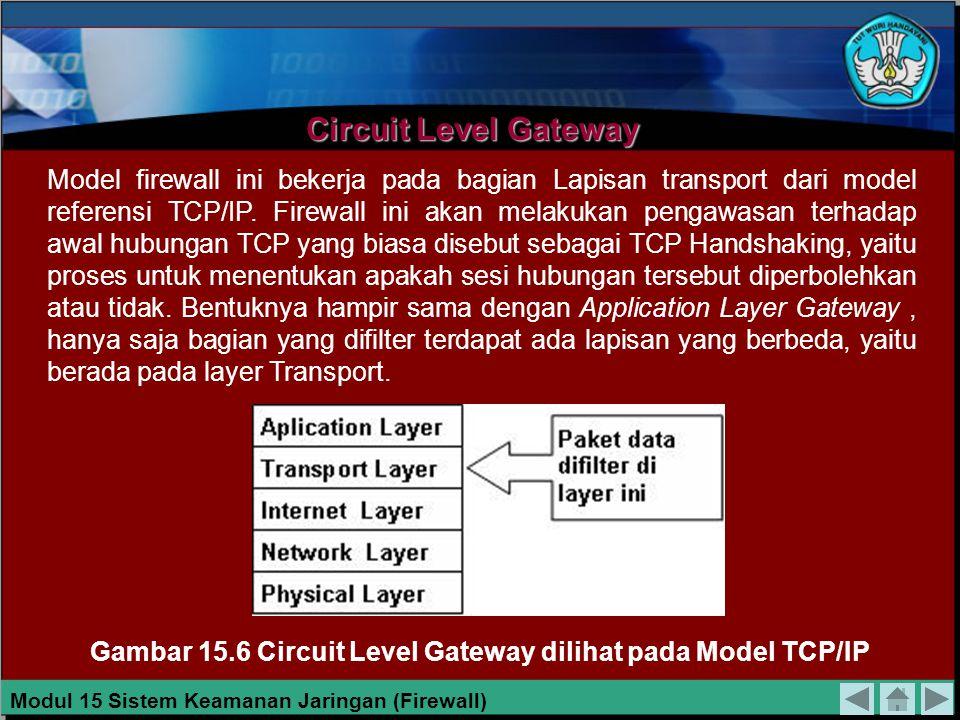 Bila kita melihat dari sisi layer TCP/IP, firewall jenis ini akan melakukan filterisasi pada layer aplikasi ( Application Layer ). Gambar 15.5 Proxy F