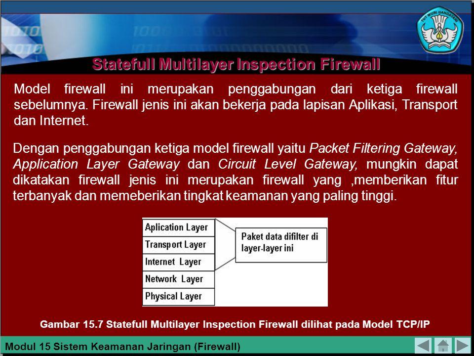 Model firewall ini bekerja pada bagian Lapisan transport dari model referensi TCP/IP. Firewall ini akan melakukan pengawasan terhadap awal hubungan TC