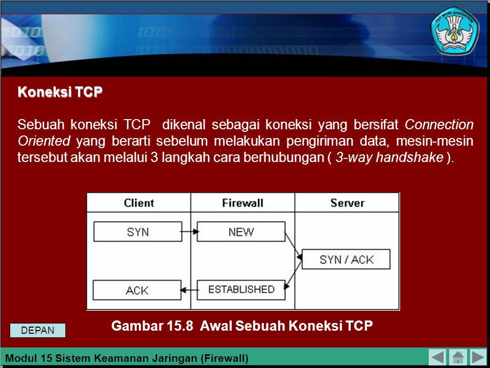 Koneksi Paket Koneksi paket yang dalam proses pengirimannya dari pengirim kepada penerima harus melalui aturan firewall, dapat dikelompokan kepada tig