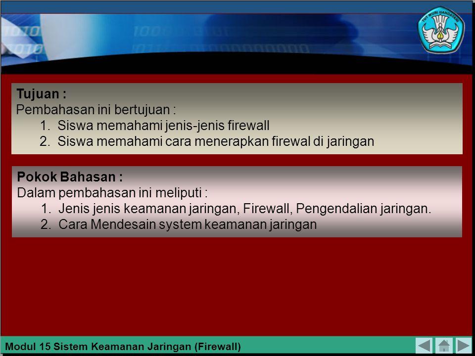 Gambar 15.18 Jaringan DMZ Dalam Satu Jaringan Modul 15 Sistem Keamanan Jaringan (Firewall)