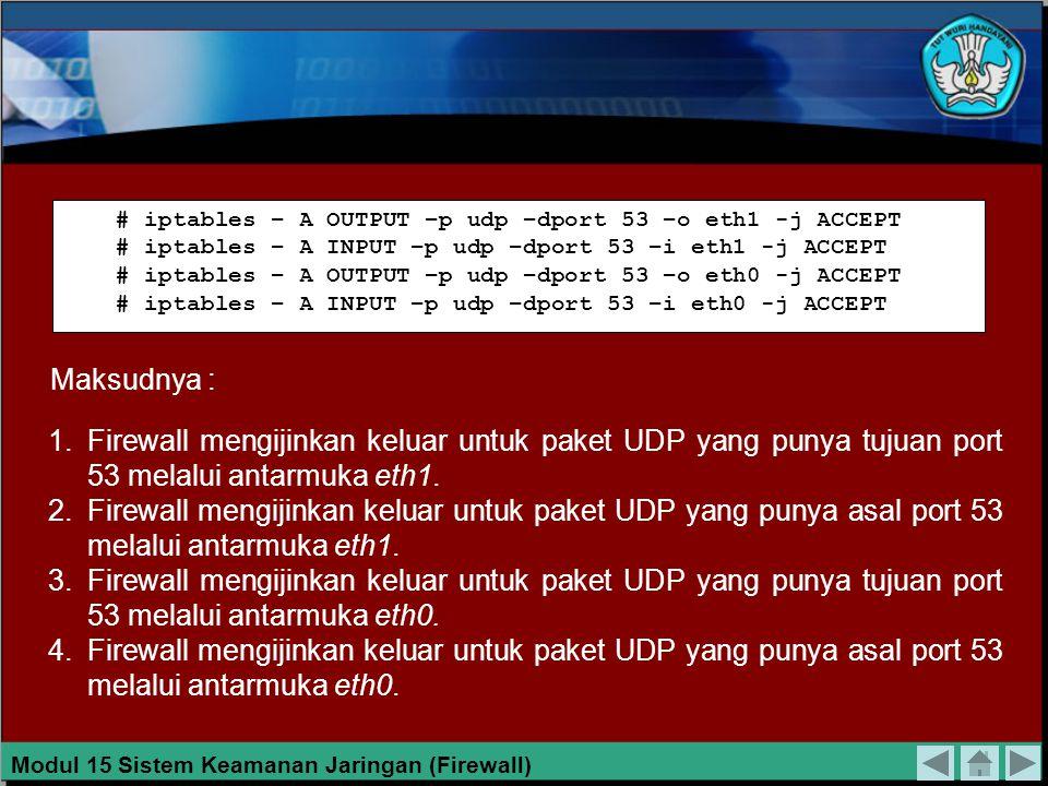 MENGIJINKAN QUERY SERVER DNS Firewall biasanya mempunyai minimal satu alamat IP untuk server DNS. Untuk query server DNS digunakan paket UDP melalui p