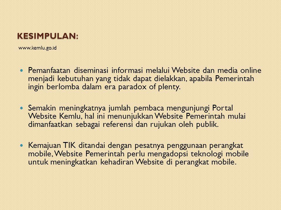 KESIMPULAN: www.kemlu.go.id  Pemanfaatan diseminasi informasi melalui Website dan media online menjadi kebutuhan yang tidak dapat dielakkan, apabila Pemerintah ingin berlomba dalam era paradox of plenty.