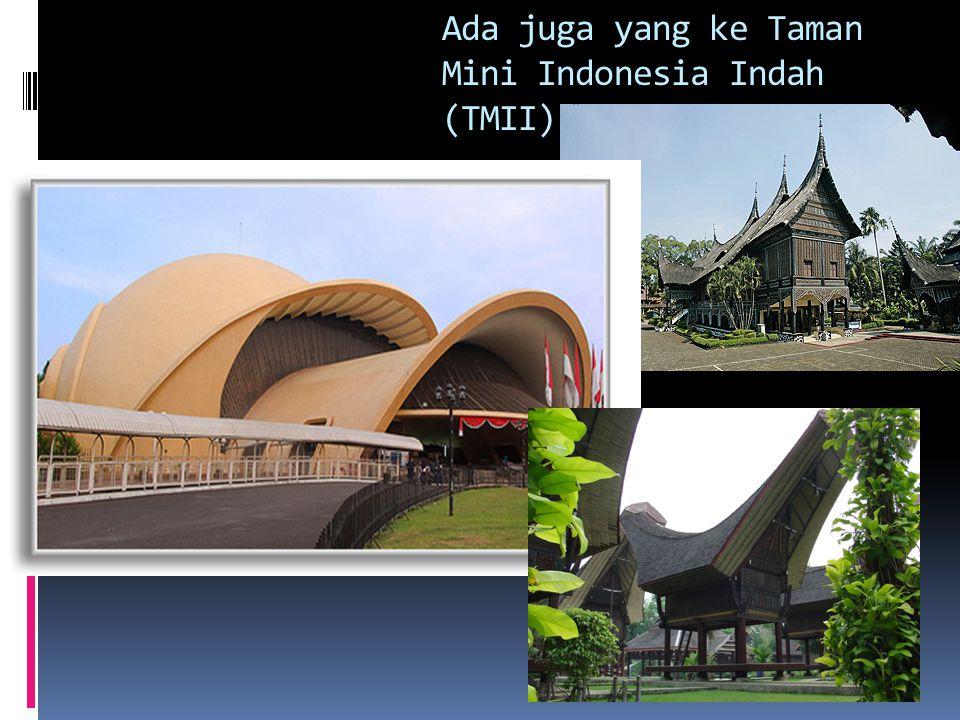 Ada juga yang ke Taman Mini Indonesia Indah (TMII)