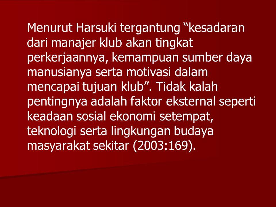 """Menurut Harsuki tergantung """"kesadaran dari manajer klub akan tingkat perkerjaannya, kemampuan sumber daya manusianya serta motivasi dalam mencapai tuj"""