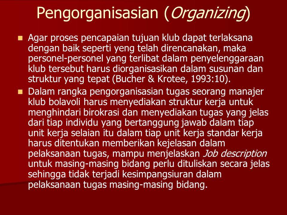 Pengorganisasian (Organizing)   Agar proses pencapaian tujuan klub dapat terlaksana dengan baik seperti yeng telah direncanakan, maka personel-perso
