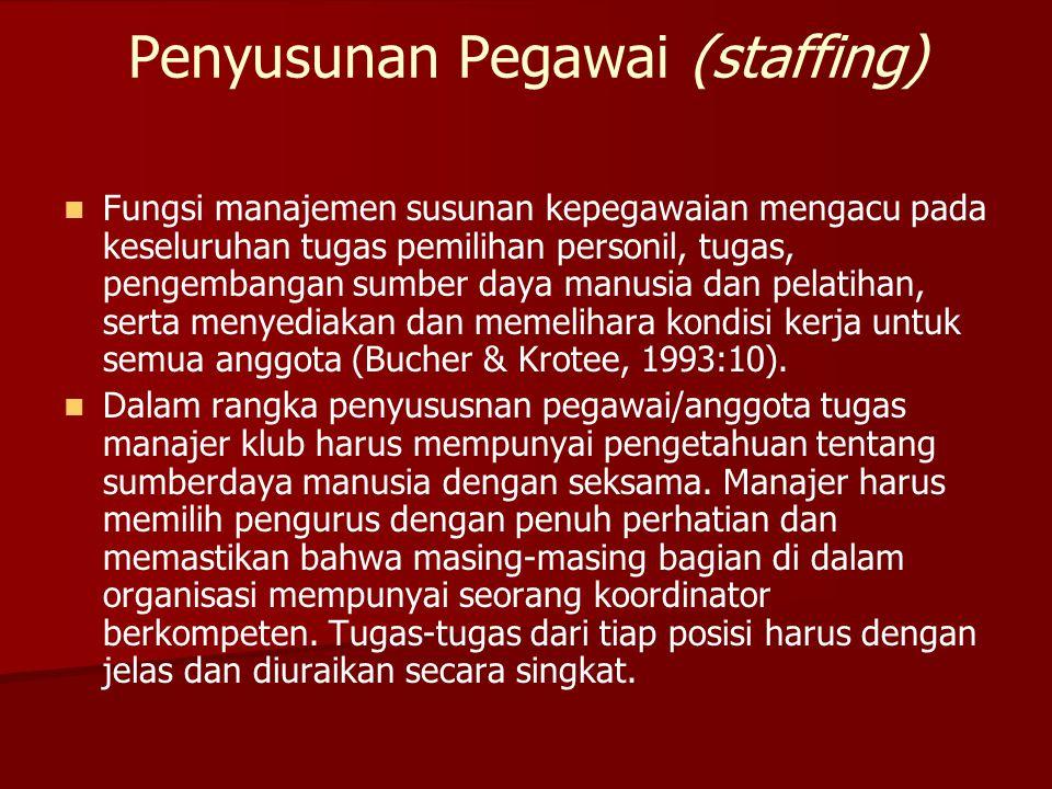 Penyusunan Pegawai (staffing)   Fungsi manajemen susunan kepegawaian mengacu pada keseluruhan tugas pemilihan personil, tugas, pengembangan sumber d