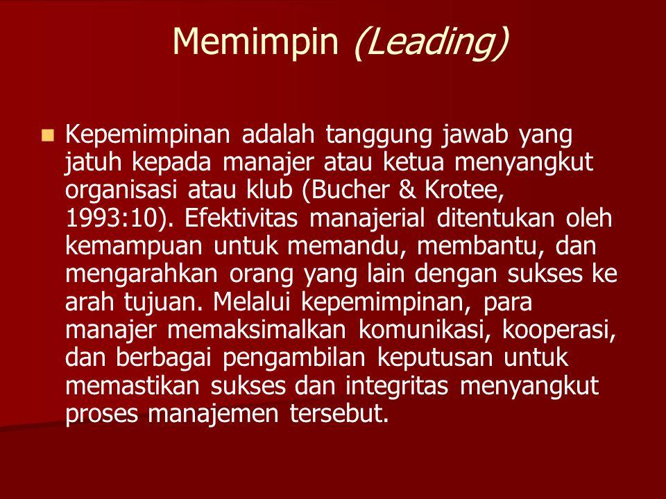 Memimpin (Leading)   Kepemimpinan adalah tanggung jawab yang jatuh kepada manajer atau ketua menyangkut organisasi atau klub (Bucher & Krotee, 1993: