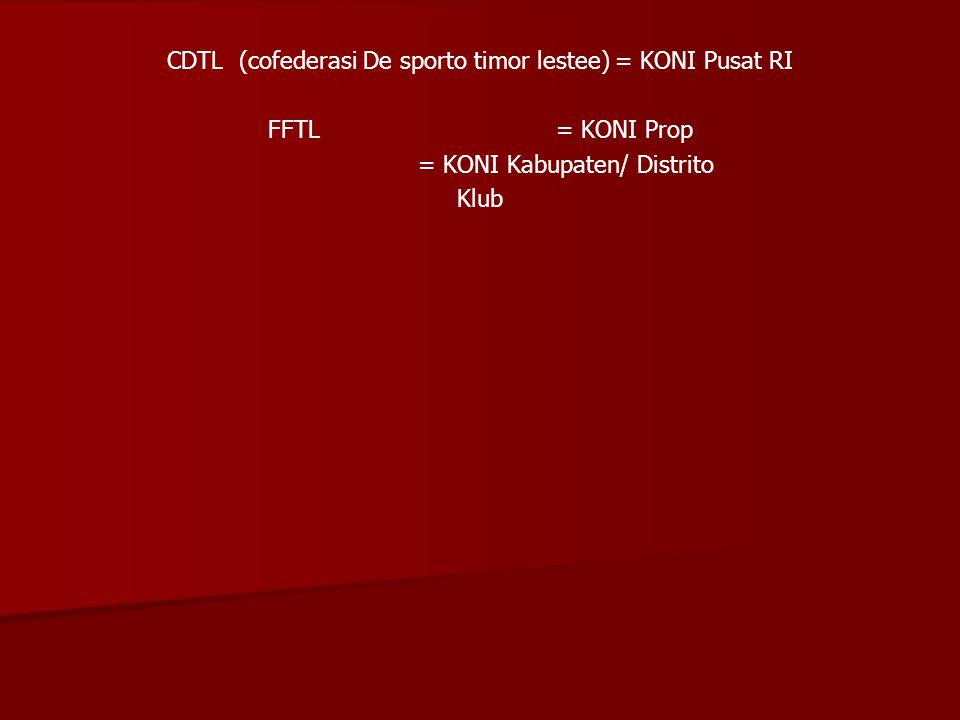 CDTL (cofederasi De sporto timor lestee) = KONI Pusat RI FFTL= KONI Prop = KONI Kabupaten/ Distrito Klub